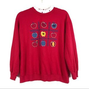 Act III   L   Vintage Red Apple Pullover Sweater